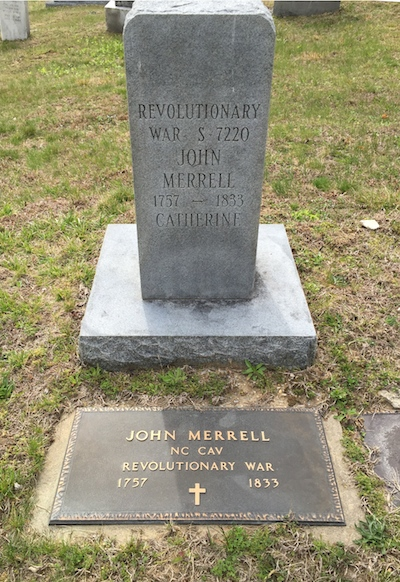memorial marker for john merrill, DAR patriot